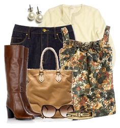 Sem título by verabrasil on Polyvore featuring polyvore, fashion, style, J.Crew, belle by Sigerson Morrison, Marc Jacobs, Pieces, clothing, j crew, denim, marie claire, blouse, bag, sunglasses, top, boots, earringns, cardigan, skirt and belt