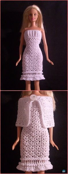 Crochet Winter Snow Barbie dress and Cape Free Pattern - Crochet Barbie Fashion Doll Clothes Outfits Free Patterns