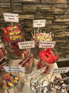 by janie College graduation themed candy bar! by janie College graduation themed candy bar! by janie Graduation Party Planning, Graduation Party Themes, College Graduation Parties, Kindergarten Graduation, Graduation Celebration, Graduation Decorations, Grad Parties, Graduation Gifts, Graduation Desserts
