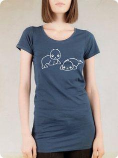 ee64a41f Adorable Seal Duo Tunic T-Shirt - Organic Tee Shirt Top - Animal vegan  Kawaii