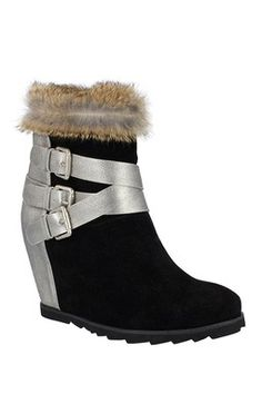 Carrie Boot with Genuine Rabbit Fur Trim