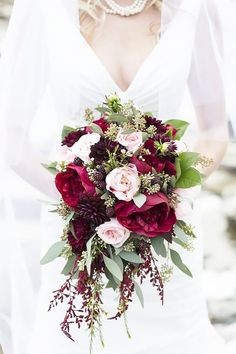 Blush & Merlot Wedding Flowers done by Valley House of Flowers . Blush & Merlot Wedding Flowers do Merlot Wedding, Burgundy And Blush Wedding, Burgundy Bouquet, Fall Wedding Bouquets, Bride Bouquets, Floral Wedding, Wedding Colors, Trendy Wedding, Bridal Bouquet Red
