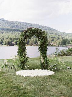 evergreen ceremony arch #wedding_ceremony