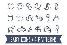 Baby icons and seamless patterns by Irina Mir on @creativemarket