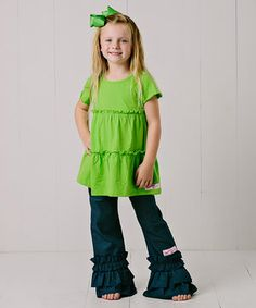 Love this Lime Green Tiered Top Set - Infant, Toddler & Girls by RuffleGirl on #zulily! #zulilyfinds