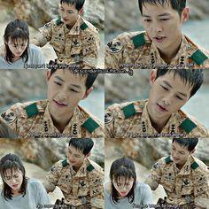 """No more jokes. I'm too weak to laugh."" Descendants of the Sun #korean #drama"