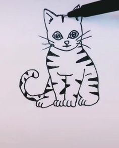 Easy Animal Drawings, Art Drawings For Kids, Art Drawings Sketches, Cute Drawings Of Animals, Easy Drawings, Animal Sketches, Simple Cat Drawing, Kitty Drawing, Easy Tattoos To Draw