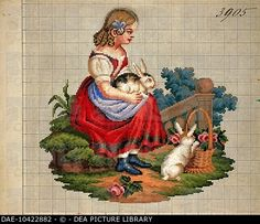 Embroidery, Germany 19th century. Little girl with rabbits embroidery design