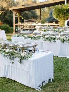 make your wedding buffet feel less like a cafeteria with a little extra floral garlands draped on the tables food How To have a Private Estate Wedding for 300 Without Over Spending Wedding Reception Food, Wedding Catering, Wedding Table, Diy Wedding, Wedding Day, Wedding Buffets, Wedding Buffet Food, Outdoor Wedding Foods, Wedding Venues