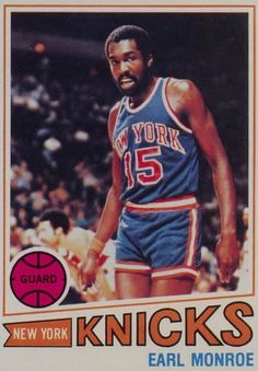 "Earl ""The Pearl"" Monroe / In 1967 he won the NBA Rookie of the Year Award with the Baltimore Bullets in a season in which he averaged 24.3 points per game, and scored 56 points in a game against the Lakers. This still stands as the third-highest rookie total in NBA history.  In 1971, Monroe was traded to the New York Knicks and formed what was known as the ""Rolls Royce Backcourt"" with the equally flamboyant Walt Frazier.  One of the few players to have number retired by two different teams."