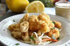 Crispy, Gluten Free, Golden Fried Calamari with Dynamite Dipping Sauce