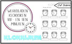 Werkbladen klokkijken: vijf- en tien minuten