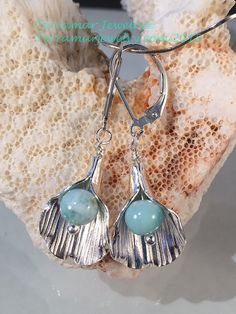 Larimar Earrings Genuine Larimar Beads in by TerraMarJewelry