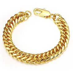 Heavy Metal Cuban Curb Link Chain Men's Bracelets Powerful Stainless Steel Bracelet Gold 8.66 Inch * Click on the image for additional details.