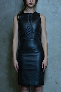 This dress highlights the basket weave details along the center and waist. The flattering form fitting silhouette can easily transform from day to evening look. S Models, Leather Skirt, Hand Weaving, Bodycon Dress, Skirts, Fabric, How To Wear, Collection, Link