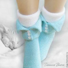 Купить Дрёмы. Носки вязаные, шерстяные, домашняя обувь. Подарок ручной работы - мятный