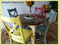 Dining Room Chairs Gone Colorfully Eclectic Dining Room Chairs, Dining Rooms, Dining Tables, Mismatched Chairs, Dining Room Inspiration, Creative Home, Fine Dining, Outdoor Furniture Sets, Furniture Ideas