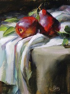 Red Pears by artist Pamela Blaies. #stilllife painting found on the FASO Daily Art Show - http://dailyartshow.faso.com