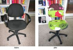 Chair recover tutorial...Wow! I've recovered all kinds of things including chairs, but it never once occurred to me to recover my desk chair! What a great idea to hide the blue in my green and brown living room. Thank you! :)