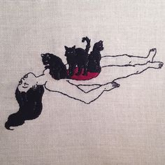 adipocereThe organs are now cats. Hand embroidery on natural linen