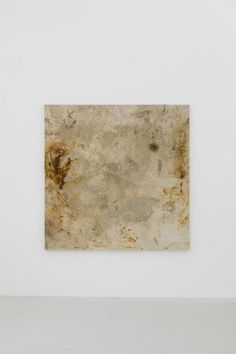 Oscar Tuazon, Untitled, 2012, rust, engine oil , charcoal, cement on canvas