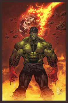 "hulk comic art | ... Joe Weems and Eddy Swan (2011)Cover art for ""Incredible Hulk #1"