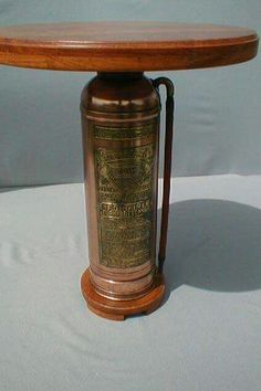 Vintage fire extinguisher table