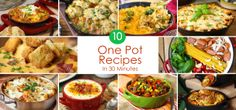 10 One Pot Meals to Simplify Dinner Time - All ready in 30 minutes or less Greaney Magazine Slow Cooker Recipes, Crockpot Recipes, Cooking Recipes, Healthy Recipes, Great Recipes, Dinner Recipes, Favorite Recipes, One Pot Dinners, Food Dishes