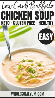 Low Carb Buffalo Chicken Soup Recipe - Instant Pot Pressure Cooker - Learn how to make low carb buffalo chicken soup in the Instant Pot. A quick and easy recipe using common ingredients. Only 30 minutes total! #wholesomeyum Low Carb Buffalo Chicken Soup Recipe, Instant Pot Chicken Soup Recipe, Keto Chicken Soup, Fun Easy Recipes, Quick Easy Meals, Healthy Recipes, Keto Recipes, Vegetarian Recipes, Real Food Recipes