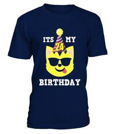 24th Birthday T-Shirt Cool Shades Cat Emoji Birthday Shirt  Funny Birthday T-shirt, Best Birthday T-shirt