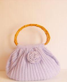 Liliac color Crocheted Handbag afghan crochet by modelknitting, $49.00