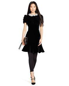 Silk-Collared Velvet Dress - Shop All Apparel - Ralph Lauren UK