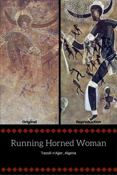 Left Image: Running Horned Woman, B., pigment on rock, Tassili n'Ajjer, Algeria Right Image: Visible in this reproduction of the original rock painting are two groupings in red ochre of small human figures superimposed onto the horned goddess.