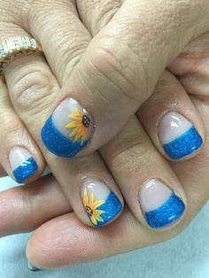 Bright shimmery royal blue French gel nails with sunflower accents. All done with non-toxic and odorless gel. Diva Nails, Gel Nails, Gel Manicures, Sunflower Nail Art, Royal Blue Nails, Blue Tips, French Tip Nails, Gel Nail Designs, Accent Nails