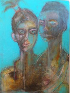 We. Acrylic and Pastel on 30 by 40 inch canvas by Kat Ostrow