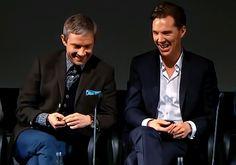 Martin Freeman and Benedict Cumberbatch at the BFI premiere of SHERLOCK (BBC) Season 3, Episode 1: The Empty Hearse. [Video/GIF]