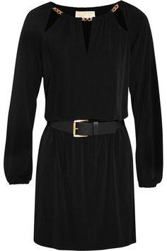 MICHAEL Michael Kors | Chain-trimmed belted stretch-jersey mini dress | NET-A-PORTER.COM