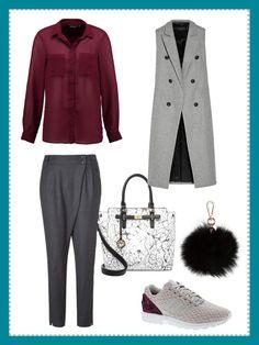 What to wear to work: Heute gibt's im Office-Look eine Longweste mit Sneakers und weinrotenAkzenten.