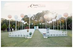 Wedding Ceremony Backdrop, wooden doors, balloons