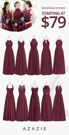 Shop for a large variety of cabernet bridesmaid dresses at Azazie. With bridesmaid dresses from Azazie, you are sure to find a cabernet bridesmaid dress for the perfect look for your wedding. Burgundy Bridesmaid Dresses Long, Bridesmaid Dress Styles, Azazie Bridesmaid Dresses, Taupe Bridesmaid, Burgundy Dress, Bridesmaids With Different Dresses, Wedding Dresses For Bridesmaids, Bohemian Bridesmaid, Burgundy Wedding