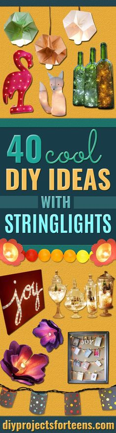 Cool Ways To Use Christmas Lights -Best Easy DIY Ideas for String Lights for Room Decoration, Home Decor and Creative DIY Bedroom Lighting - Creative Christmas Light Tutorials with Step by Step Instructions - Creative Crafts and DIY Projects for Teens, Teenagers and Adults http://diyprojectsforteens.com/diy-projects-string-lights