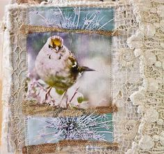 fabric book cover. photos are printed on fabric and collaged with vintage lace