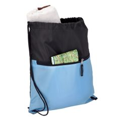 Drawstring Sport Bag with Zip Pocket - 210D http://www.ignitionmarketing.co.za/corporate-gifts