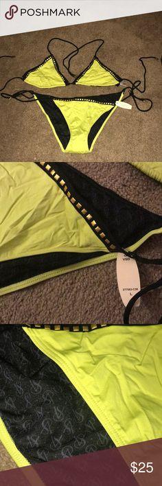 Neon yellow VS bikini with gold studs Hot! Victoria's Secret Swim Bikinis