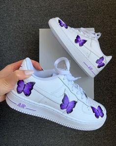 Butterfly Effect by jennycai Purple Sneakers, Cute Sneakers, Girls Sneakers, Sneakers Fashion, Sneakers Nike, Purple Nike Shoes, Nike Air Force Mujer, Nike Shoes Air Force, Air Force Sneakers