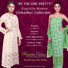 #Nazrana's #Exquisite #Women Chikankari Collection * ..... Kurtis | Sarees | Suit Materials | Cotton Tops ..... Rush now @http://bit.ly/1J0aXeu WhatsApp on +91-7703079886  Free Shipping | Cash on Delivery | Easy Returns