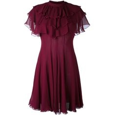 Giambattista Valli ruffled dress (1'600 CHF) ❤ liked on Polyvore featuring dresses, red, silk dress, purple ruffle dress, silk cocktail dress, frill dress and red silk dress