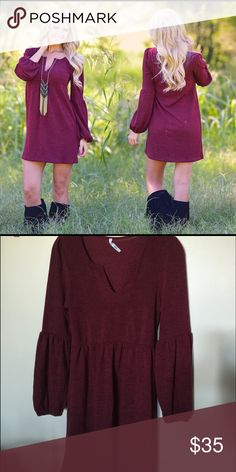 Burgundy Dress Gorgeous burgundy dress. You could also add leggings with it later as the weather gets colder. It's a soft material. Brand new with tags. Size Medium. Dresses
