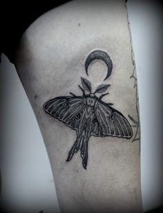 Original luna moth dotwork tattoo by Summer Breeze at Jinx Proof Tattoo Emporium in Johnson City, TN.