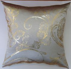 Taupe like Sateen/ Gold Metallic Foil Floral Decorative Pillow Covers Sale $9.99 (Was  $30.00)
